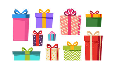 Gift boxes set, presents isolated on white background. Sale, holiday, shopping concept. Collection for Birthday, Christmas. Colorful wrapped. Stock Vector Cartoon flat design