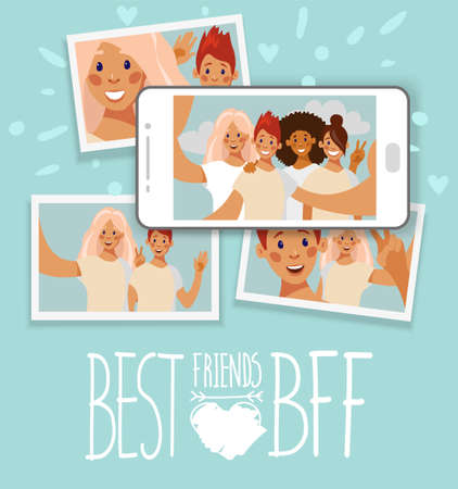 Best friends. Photo printing concept. Vector illustration in flat cartoon design. Collage of photo cards of friends and selfie on the smartphone screen. Vector illustration in flat cartoon design.