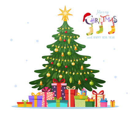 Decorated with balls and garlands Christmas tree. Pile of christmas gift boxes. Blank for happy new year and christmas greeting card or banner. Vector illustration in flat design isolated on white background.