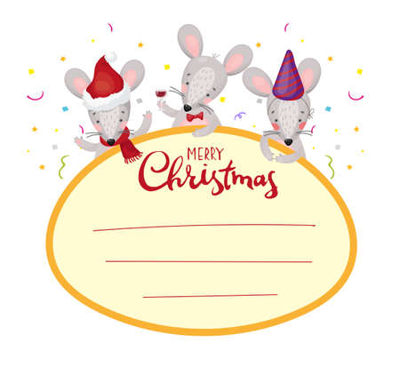 Christmas frame for text. Label, tag, window with cute mice. Sticker with New Year s rats for postcards and greetings. Stock vector in flat cartoon style isolated on white background. Vettoriali