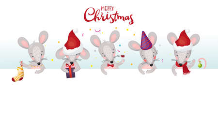 New Year banner with mice and rats. Cute christmas animals with place for your text. Flat vector cartoon characters with white signboard