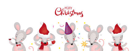 Collection of characters in a flat style. Cute mice or rats for postcards, greetings. Merry Christmas. Vector illustration in cartoon style.