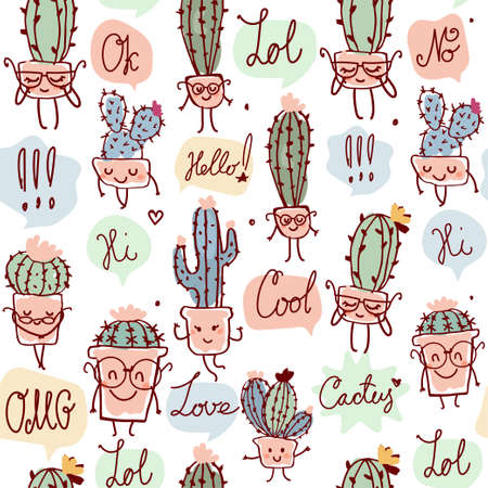 Seamless pattern with cacti in retro colors. Cute children characters with different words. Wallpaper, wrapping paper, children s party, Mexican party. Stock vector isolated on white background.