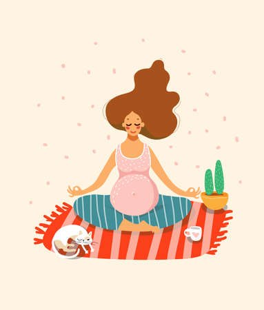 A pregnant girl practices yoga or meditates in the lotus position. Cozy home decor, cat, carpet, cactus in a pot. The concept of pregnancy, the expectation of a baby, a healthy lifestyle, family. Flat stock vector illustration. Illusztráció