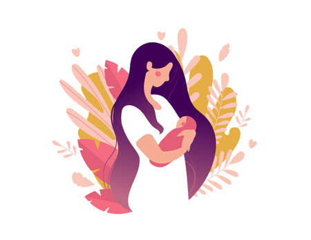 Young mother with a newborn baby in her arms. Woman with a baby on a background of nature and leaves. The concept of motherhood, health, family. Flat vector illustration isolated on white background.
