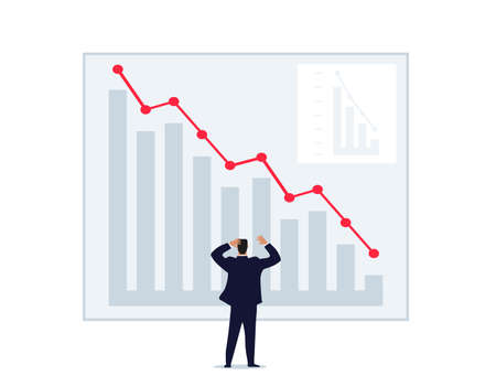 A man throws up his hands looking at a graph of falling prices. World financial crisis, unsuccessful investment, failure, loss of money. Man on the stock exchange. Flat vector isolated on a white background