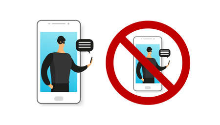 Phone fraud, online dating, payments, transfers. Deception and theft on the phone, the Internet, applications. Online scammer. Criminal with a phone on display. Prohibition sign. Flat vector isolated on a white background.