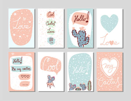 Love and cacti. Set of handwritten text layouts for greeting card, invitation, party, children s holiday, valentine s day. Flat cartoon vector.