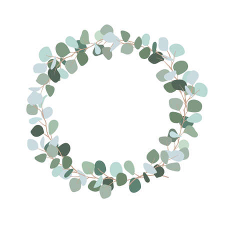 Festive wreath of branches with bluish leaves. Silver dollar eucalyptus wreath with place for text for wedding, invitation. Botanical plant. Flat illustration isolated on white background.