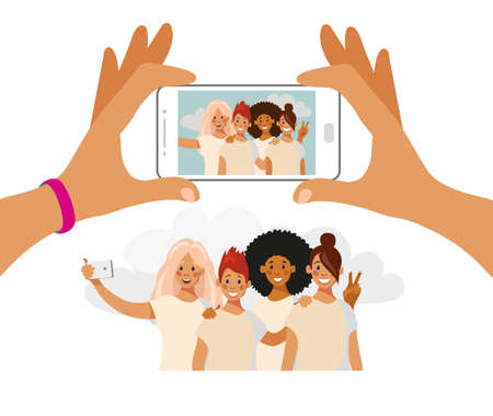 Girls take pictures on the phone. A group of friends of different nationalities is photographed. Selfie best friends. Cartoon vector isolated on white.