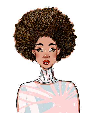 Portrait of a beautiful black woman model. Modern afro american girl with curly hair. Vector illustration isolated on a white background.