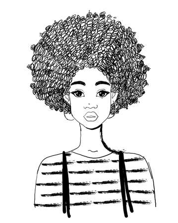 Portrait of a beautiful black woman. Linear drawing of an african american girl with curly hair. Vector illustration isolated on a white background. 일러스트