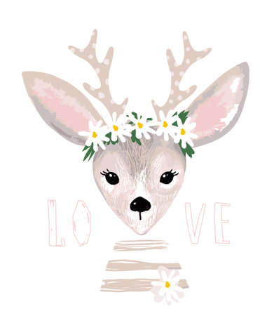 Poster with a cute deer with a wreath of daisies on his head. Delicate postcard with a deer, clip-art for design of nursery, baby shower. Vector illustration isolated on white. 일러스트