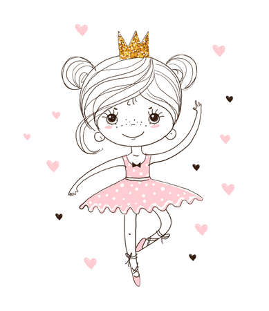 Cute little ballerina in tutu and pointe shoes. The princess girl is dancing in a pink dress. A beautiful linear poster about the ballet for the nursery. Doodle vector illustration. Illustration