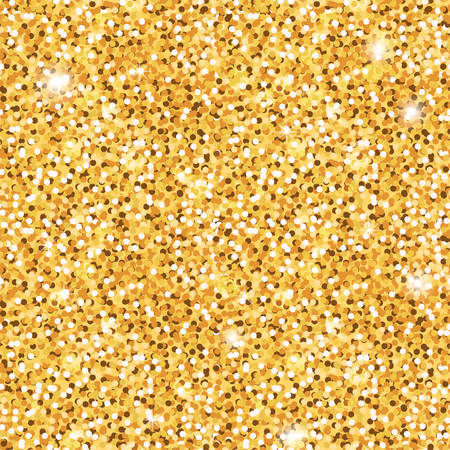 Golden shiny texture background. Festive seamless pattern of sequins, confetti, fabric. Shiny gold for packaging, background, design. Stock vector illustration