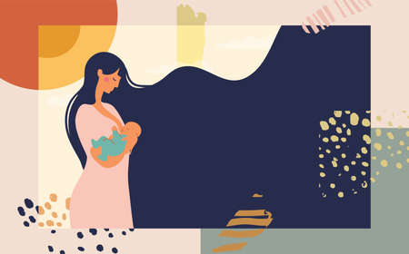 Poster mother feeds the baby with breast milk. Modern collage on abstract background. Bright conceptual flat illustration about motherhood and pregnancy. Website template, web page and landing page design with place for text. Cartoon vector