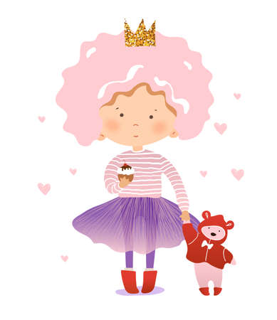 Funny little princess with a teddy bear and a cupcake. The girl in the crown and tutu walks with a toy and eats a cake. Flat cartoon vector illustration Illustration