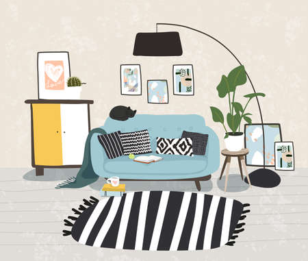 Modern design of the living room in the Scandinavian style. This apartment features furniture, a sofa, a lamp, indoor plants and paintings. Vector illustration Ilustração