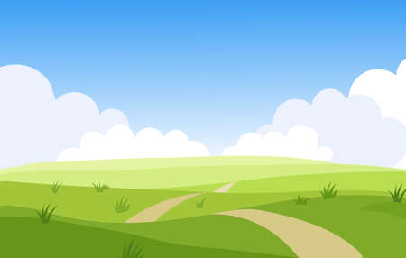 Beautiful summer grassy meadow landscape. Spring nature sunny day. Bright background with cloudy sky in the park, place for text. Cartoon vector illustration