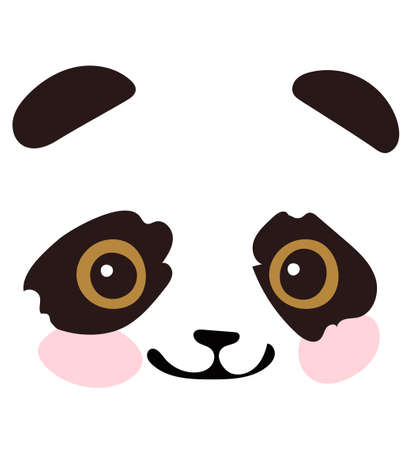 The head of a cute little panda. A simple closeup portrait. Eyes, ears, a nose of a bear. Blank for postcards, printing on clothes, a nursery. Vector illustration