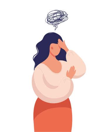 Una mujer piensa en un problema, sufre de pensamientos obsesivos, dolor de cabeza, problemas no resueltos, trauma psicológico, depresión. Ilustración vectorial plana