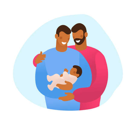LGBT family hugs their child. Male gay couple with a son. A simple card about several generations, a grandson, a son and a grandfather. Flat vector illustration