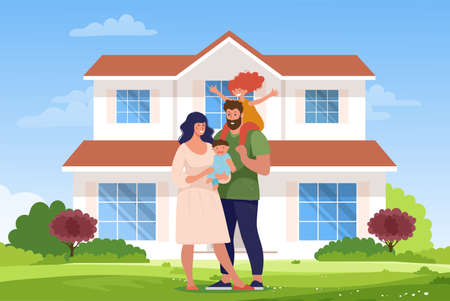 A happy family is standing at the new house. Ilustrace