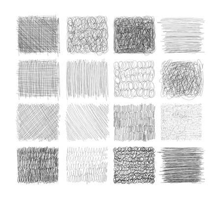 Conjunto de texturas grunge con lápiz, bolígrafo. Doodle delgada línea, cuadrados con diferentes rayados, grabado. Conjunto de formas rectangulares con líneas de mano libre para el diseño. Ilustración vectorial Ilustración de vector