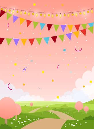 Fondo della carta di festa di primavera con lo spazio della copia. Paese da favola con cielo rosa, alberi e bandiere. Vuoto per compleanno, invito, festa per bambini. Illustrazione vettoriale di cartone animato piatto Vettoriali