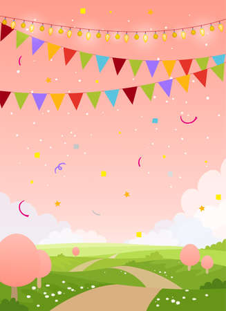 Spring holiday card background with copy space. Fairytale country with pink sky, trees and flags. Blank for birthday, invitation, children's party. Flat cartoon vector illustration