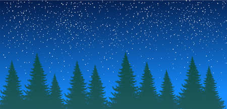 Forest silhouette against the background of the night summer sky with stars. Spruce forest, pine trees in a row. Natural background with place for text.