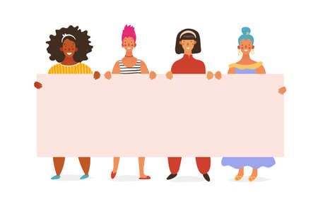 Group of girls, young standing women holding a blank poster with place for text. Posterna March 8, breast cancer, feminism, sisterhood, friendship. Vector flat cartoon illustration