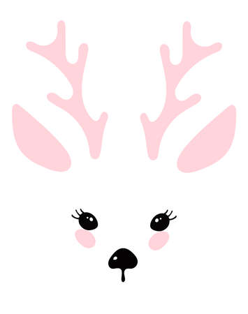 Illustration with a portrait of a deer. The face of a cute animal with a nose, eyes, ears, horns. Face of a deer for print. Simple vector
