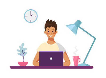 Male character behind a laptop, modern conceptual illustration about freelance, distance learning, online business. A man works in an office at a computer. Flat vector illustration isolated on white background