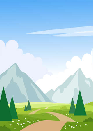 Summer landscape with mountains, trees, road, meadows. Print with spring landscape. Modern natural background. Flat cartoon illustration with place for text