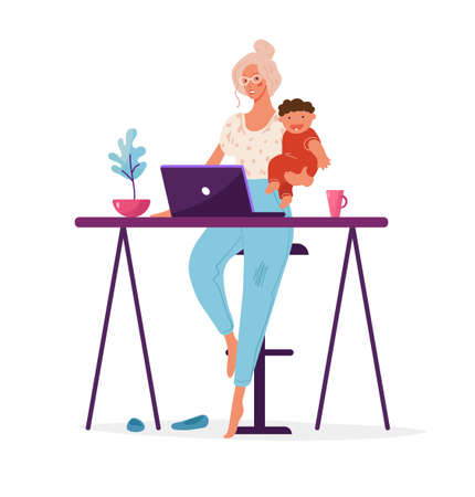 A modern woman holds a child in her arms and works at a computer. Concept illustration about choosing a career or family, distant work, women s career, freelance. Flat cartoon illustration isolated on white.