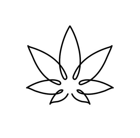 Cannabis leaf icon. Graphic line drawing of marijuana, logo, symbol. Vector illustration. Beautiful minimalistic hand drawing of a plant 向量圖像
