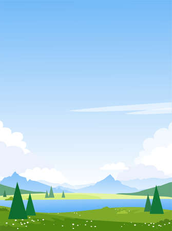 Beautiful summer mountain landscape with a lake. Spring fields and meadows with a river. Illustration for the design of tourism, travel, adventure. Vector