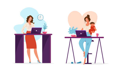 Set of illustrations, a woman works in the office or at a remote work at home holding a child in her arms. The concept of choosing a career or family, combining work and family. Cute female character. Flat vector illustration Vektoros illusztráció