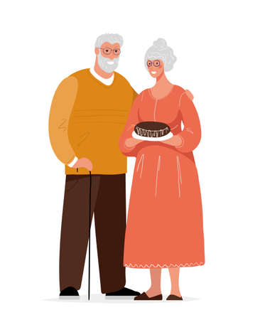 Cute elderly couple. Grandmother and grandfather. Grandpa with a cane and glasses hugs his wife. Happy granny with a pie. Flat cartoon vector illustration isolated on white background  イラスト・ベクター素材