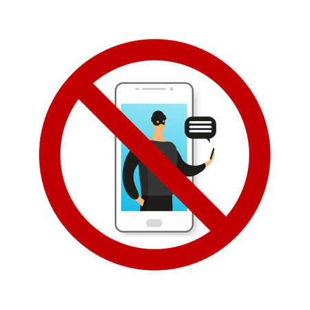 Online phone scam. Prohibition sign. Male character commits a crime, illegal action using the phone. Social Engineering. Modern vector illustration