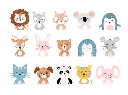 Cute animals, a large set of simple colorful cartoon characters for children. Wild, tropical, forest animals. Vector illustration isolated on a white background 向量圖像