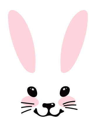 Simple blank for design. Head of a cute bunny with ears, eyes and a smile, portrait of a cute forest animal. Vector illustration isolated on a white background Foto de archivo - 142865268