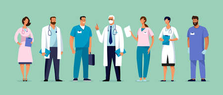 Set of male and female characters of doctors. Surgeons, doctors, nurses. Conceptual illustration, hospital medical team, poster. Vector template for design Stock Illustratie