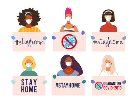 CoVID-19 Spread of the virus. New Coronavirus 2019-nCoV Positive quarantine self-isolation poster. Girls and women of different nationalities hold posters. Stay home, quarantine, stop coronavirus. Flat vector illustration Ilustração