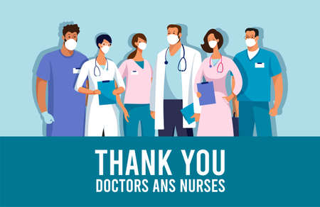 CoVID-19 Spread of the virus. New Coronavirus 2019-nCoV Poster Thank you doctors and nurses. Thanks to the medical team during the coronavirus epidemic. Vector illustration Illustration