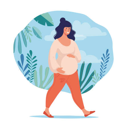 A pregnant woman leads a healthy lifestyle. Sports and walks during pregnancy. Conceptual poster about motherhood. Flat female character for design. Vector illustration