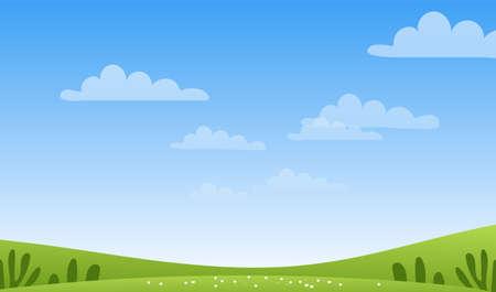 Sonnige Frühlings- oder Sommerlandschaft, Wiesen, Himmel mit Wolken, Platz für Text. Grünes Farmbanner, Konzept der Pflege von Natur und Ökologie. Flache Karikaturvektorillustration mit Exemplar