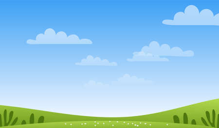 Sunny spring or summer landscape, meadows, sky with clouds, place for text. Green farm banner, concept of caring for nature and ecology. Flat cartoon vector illustration with copyspace