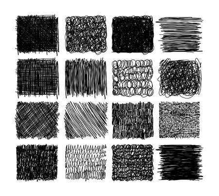 Set of grunge textures with pencil, pen. scribble thin line, squares with different hatching, engraving. Set of rectangular shapes with free hand lines for design. Vector illustration Ilustração